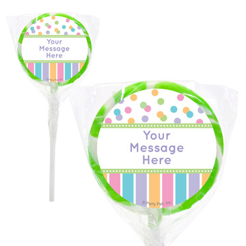 "Dots and Stripes Baby Shower Personalized 2"" Lollipops (20 Pack)"