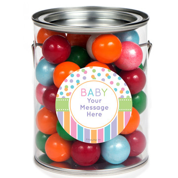 Dots and Stripes Baby Shower Personalized Paint Cans (6 Pack)