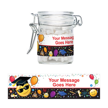 Emoji Graduation Personalized Glass Apothecary Jars (10 Count)