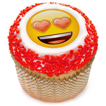 "Emoji Heart Eyes 2"" Edible Cupcake Topper (12 Images)"