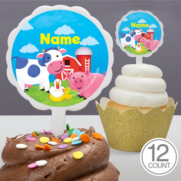 Farm Animals Personalized Cupcake Picks (12 Count)