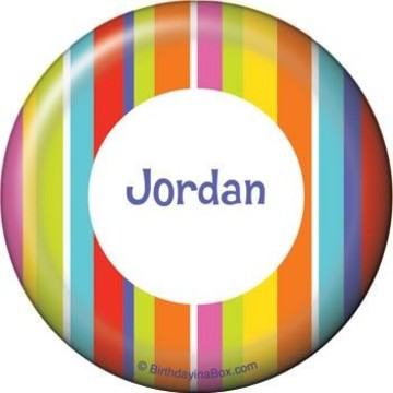 Festive Stripes Personalized Button (each)