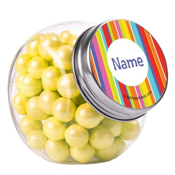 Festive Stripes Personalized Plain Glass Jars (10 Count)