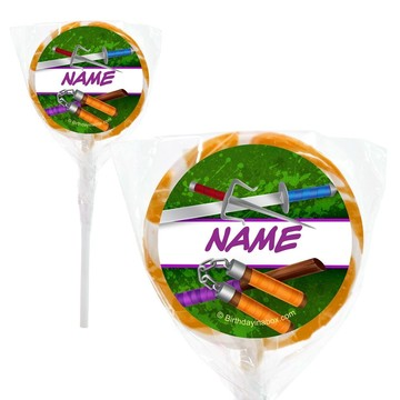"Fighting Turtles Personalized 2"" Lollipops (20 Pack)"