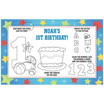 First Birthday Sport Star Personalized Activity Mat (8 pack)