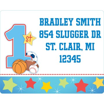 First Birthday Sport Star Personalized Address Label