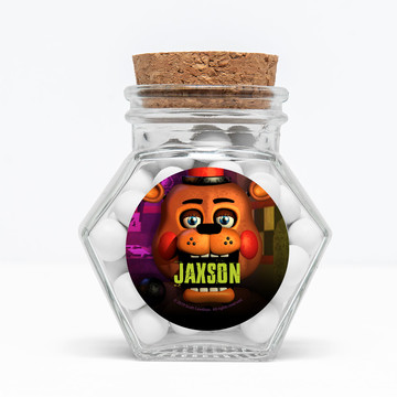 "Five Nights at Freddy's Personalized 3"" Glass Hexagon Jars (Set of 12)"