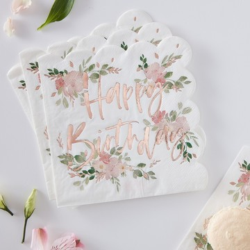 Ginger Ray Ditsy Floral Happy Birthday Napkins, 16ct