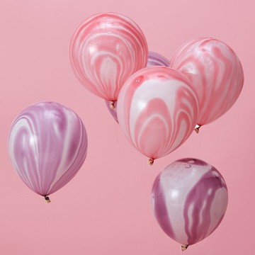 Ginger Ray Pink & Purple Marble Latex Balloons, 10ct