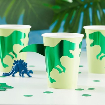 Ginger Ray Roarsome Foiled Dinosaur 9oz. Cups, 8ct