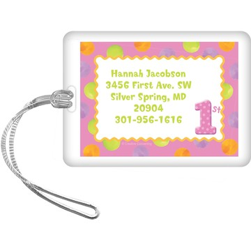 Girls' Polka Dot 1st Birthday Personalized Luggage Tag (each)