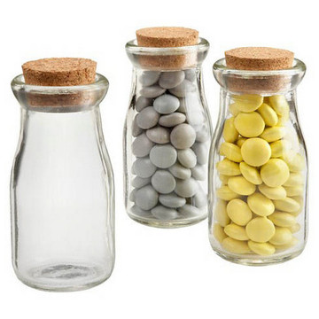 "Glass Milk Jar 4"" (Set of 12)"