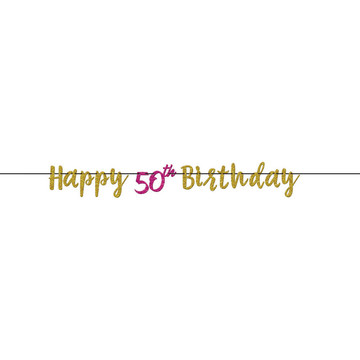 Glitter Pink & Gold 50th Birthday Letter Banner (1)