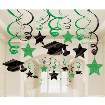 Graduation Foil Swirl Green Decorations (30 Count)