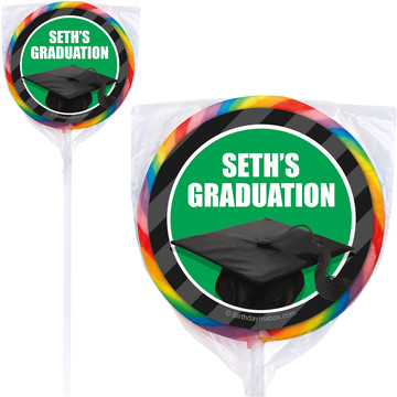 Green Caps Off Graduation Personalized Lollipops (12 Pack)