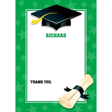 Green Graduation Personalized Thank You (Each)