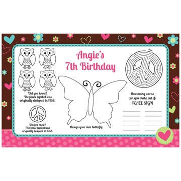 Hippie Chick Personalized Activity Mats (8 pack)