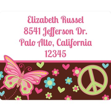 Hippie Chick Personalized Address Labels (Sheet Of 15)
