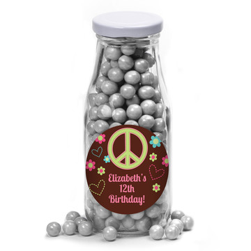Hippie Chick Personalized Glass Milk Bottles (10 Count)