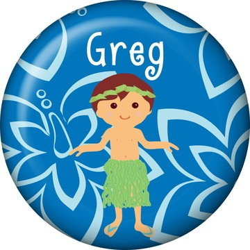 Hula Boy Personalized Mini Button (Each)