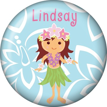Hula Girl Personalized Mini Button (Each)