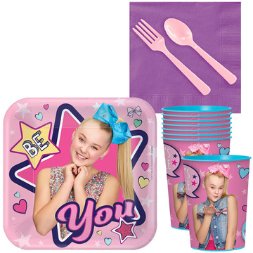 JoJo Siwa Standard Tableware Kit With Plastic Favor Cups (Serves 8)