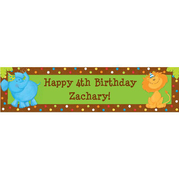 Jungle Birthday Personalized Banner (each)