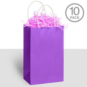 Kraft Handle Bags Purple (10 Pack)