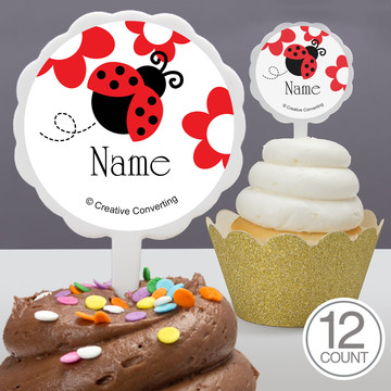 Ladybug Party Personalized Cupcake Picks (12 Count)