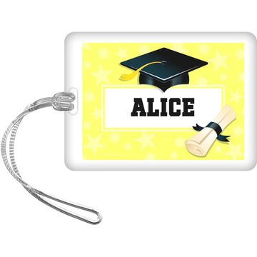 Lemon Yellow Grad Personalized Bag Tag (Each)