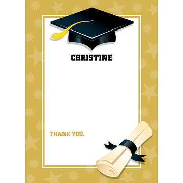 Lemon Yellow Graduation Personalized Thank You (Each)