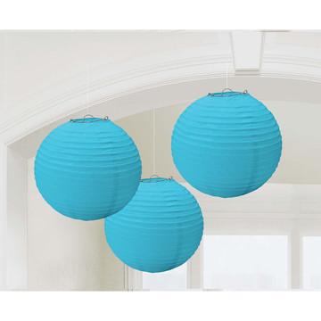 Light Blue Paper Lantern Decorations (3 Count)