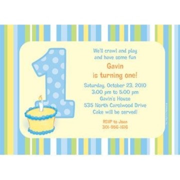 Lil' Boy 1st Birthday Personalized Invitation (each)