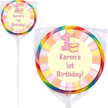 Lil' Girl 1st Birthday Personalized Lollipops (pack of 12)