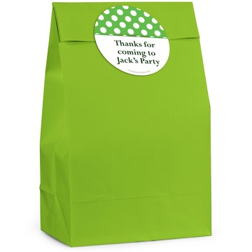 Lime Dots Personalized Favor Bag (12 Pack)