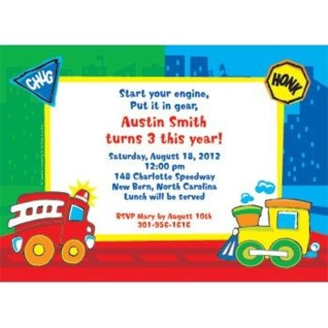 Little Truck Party Personalized Invitation (each)