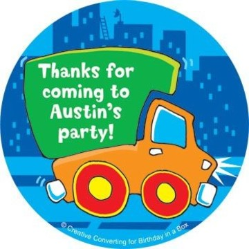 Little Truck Party Personalized Stickers (sheet of 12)
