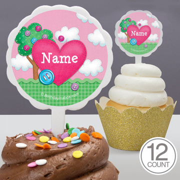 Loopy Rag Dolls Personalized Cupcake Picks (12 Count)