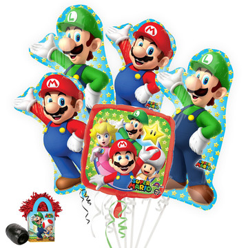 Mario Bros Deluxe Balloon Bouquet Kit
