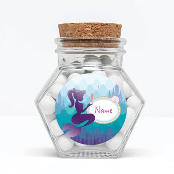 "Mermaid Under the Sea Personalized 3"" Glass Hexagon Jars (Set of 12)"