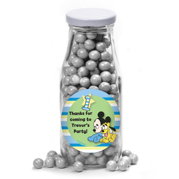 Mickey 1St Birthday Personalized Glass Milk Bottles (10 Count)