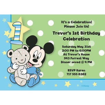Mickey 1st Birthday Personalized Invitation (Each)