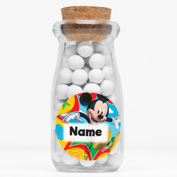 """Mickey Mouse Personalized 4"""" Glass Milk Jars (Set of 12)"""