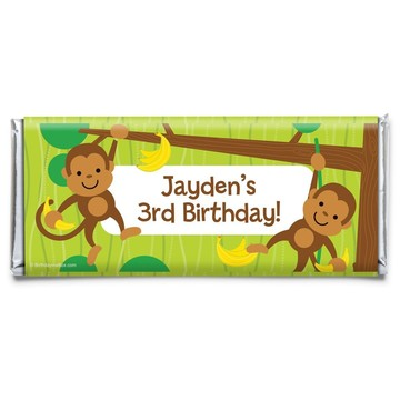 Monkey Party Personalized Candy Bar Wrapper (Each)