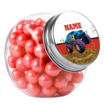 Monster Truck Personalized Plain Glass Jars (10 Count)