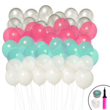 Ombre Balloon Kit (Mint, Pink, Silver White)
