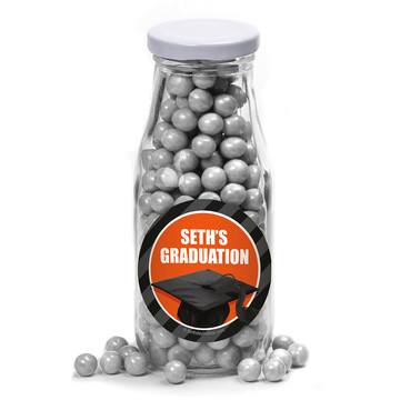Orange Caps Off Graduation Personalized Glass Milk Bottles (10 Count)