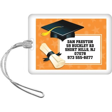 Orange Grad Personalized Luggage Tag (Each)