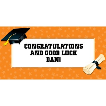 "Orange Graduation Personalized Giant Banner 60x30"" (Each)"