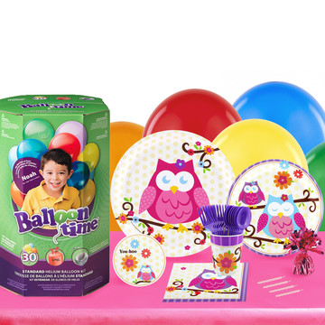 Owl Blossum 16 Guest Kit with Tableware and Helium Kit